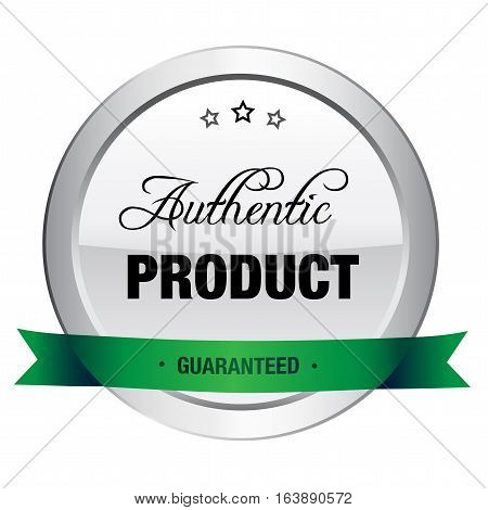 authentic product seal or icon. Silver seal or button with stars and green banner.