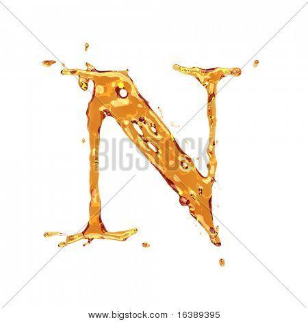 Flüssige Alkohol Alphabet - Buchstaben N - Farbe der Weinbrand, Cognac, Spirituosen, Cola, Bier oder Tee