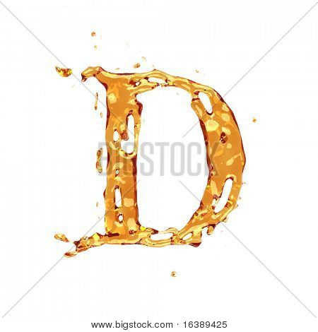 Liquid alcohol alphabet  - letter D - color of brandy , cognac, liquor, cola, beer or tea