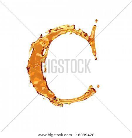 Liquid alcohol alphabet  - letter C - color of brandy , cognac, liquor, cola, beer or tea