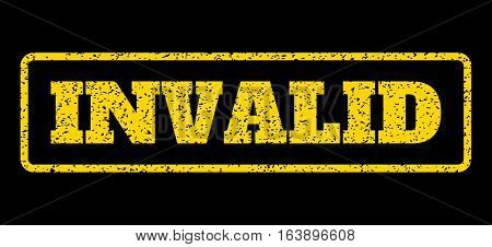 Yellow rubber seal stamp with Invalid text. Vector tag inside rounded rectangular banner. Grunge design and unclean texture for watermark labels. Horisontal sign on a blue background.