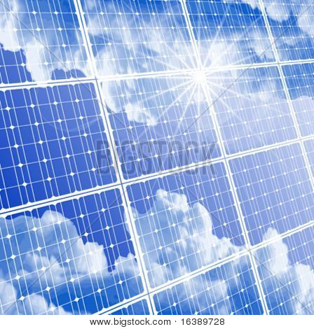 Solar panel with reflection of clouds, clear sky and bright sun. Eps10