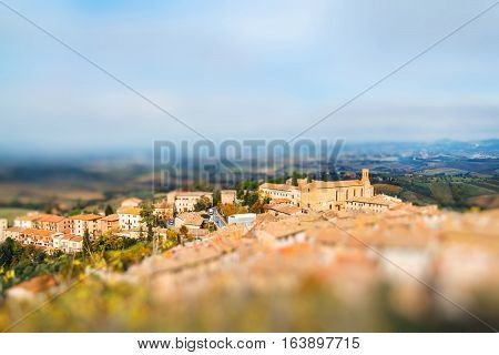 Panoramic view from San Gimignano Tuscany Italy. Miniature tilt shift lens effect.