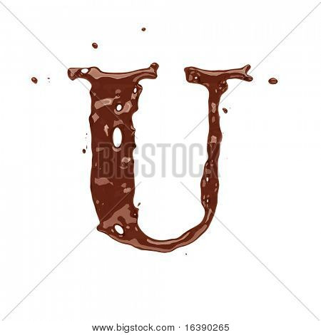 Chocolate letter U isolated on white background