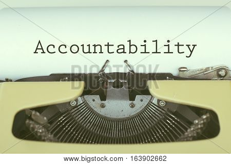 Accountability text on paper with typewriter concept