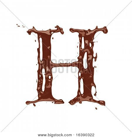 Chocolate letter H isolated on white background