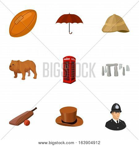 England country set icons in cartoon design. Big collection of England country vector symbol stock illustration.