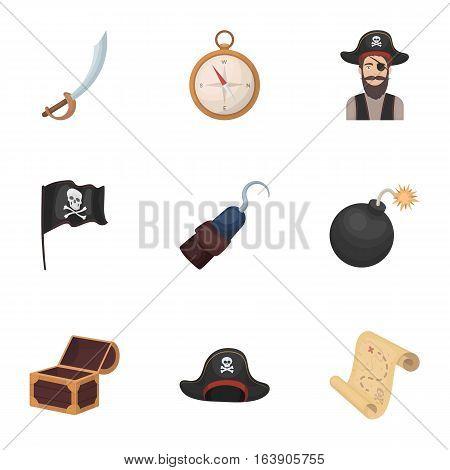 Pirates set icons in cartoon design. Big collection of pirates vector symbol stock illustration