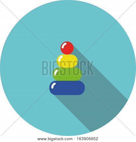 vector children icon variegated toy pyramid on a blue background