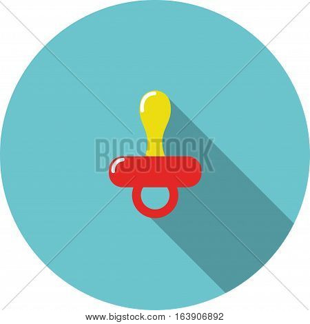 vector children icon Red baby nipple on a blue background
