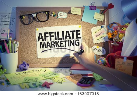 Affiliate marketing business concept in office with hand