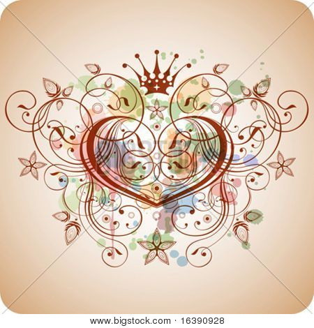 Vintage heart & floral calligraphy ornament - a stylized orchid & color paint background