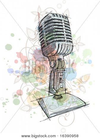 Vintage Microphone sketch & floral calligraphy ornament - a stylized orchid, color paint background - vector