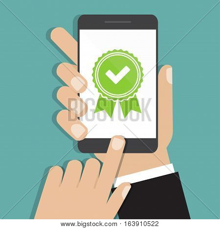 Hands holding smartphone with approved medal icon in a flat design