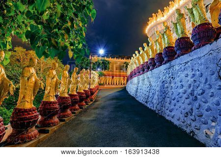 Buddha statues at night in Fo Guang Shan