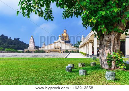 Landscape of Fo Guang Shan with large buddha in the distance