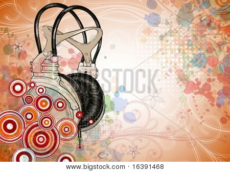 headphones & floral background