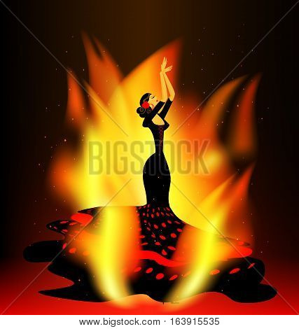 dark background with flame and abstract dancing flamenco girl in red-black
