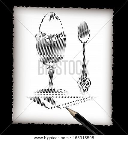 dark background, black pencil, sheet of white paper and the image of abstract egg and spoon