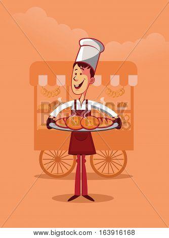 Smiling baker holding several hot bread. Cart on background vector illustration.