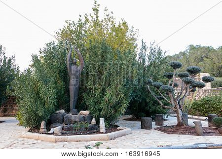 Statue In The Courtyard Of The Franciscan Monastery In Capernaum