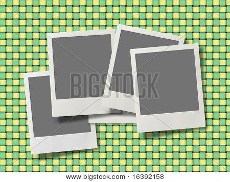 photo frames on fabric background