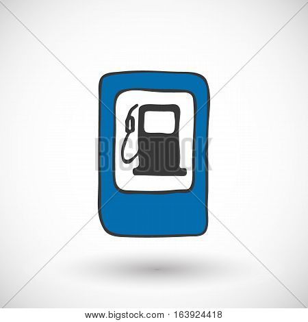 Refuel road sign icon. Hand-drawn cartoon gas station icon with round shadow. Vector illustration.