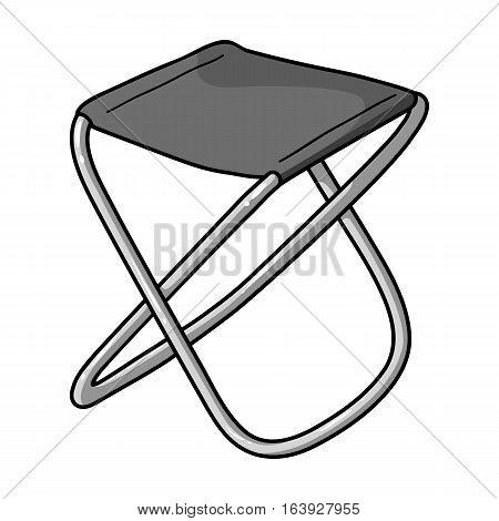 Folding stool icon in monochrome design isolated on white background. Fishing symbol stock vector illustration.