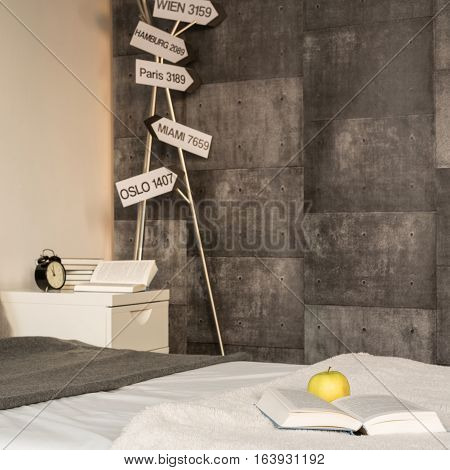 Signposts In Contemporary Gray Bedroom