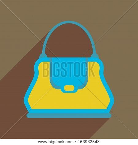 Flat icon with long shadow  clutch bag