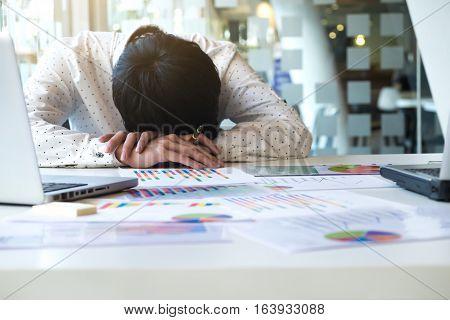 Tired Overworked Businessman Sleeping
