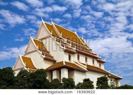Thai Church with the blue sky.
