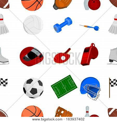 Sport and fitness pattern icons in cartoon style. Big collection sport and fitness vector symbol stock