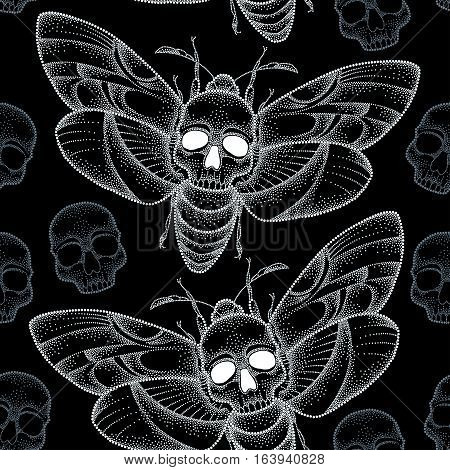 Vector seamless pattern with dotted white Death's head hawk moth or Acherontia atropos on the black background with skulls. Background with butterfly and skull in dotwork style.