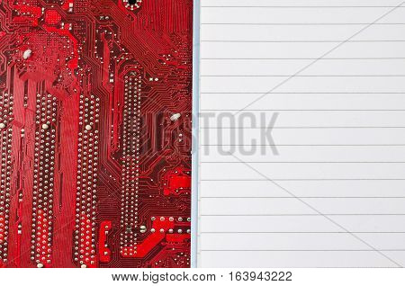 Red old dirty computer circuit board and place for text
