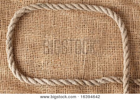 frame make from rope laying on jute