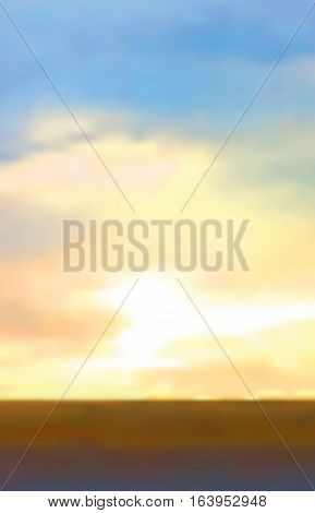 Abstract vector sunrise background. Sunrise or sunset with orange yellow gold clouds and blue sky. Clear sky horizon background. Daybreak marine landscape with dark sea. Vector illustration stock vector.