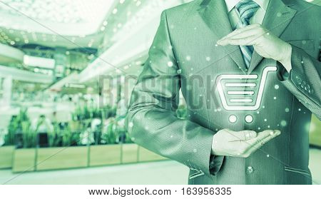 Consumer protection concept. Safety and insurance of trade and goods. Online marketing. Safe credit card and shopping.