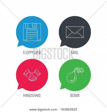 Colored speech bubbles. Mail, bomb and handshake icons. Floppy disk linear sign. Flat web buttons with linear icons. Vector