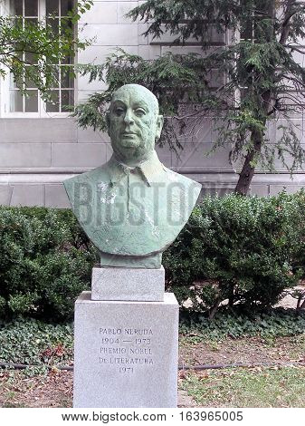 Washington USA - October 19 2004: Bust of Pablo Neruda at the Organization of American States.