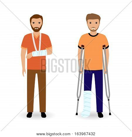 Disability people concept. Two smiling invalid men isolated on a white background. Flat style vector illustration.
