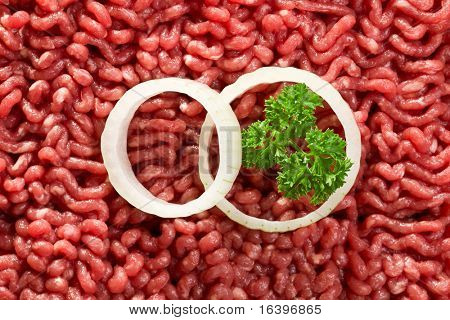 the detail of raw minced meat