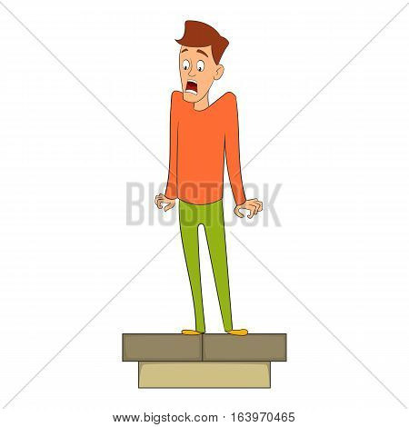 Fear of heights icon. Cartoon illustration of fear of height vector icon for web design