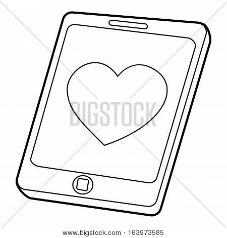 Mobile phone with heart icon. Outline illustration of Mobile phone with heart vector icon for web