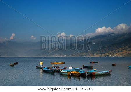 Fewa lake in Pokhara, Nepal