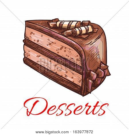 Desserts. Chocolate cake icon. Patisserie shop emblem. Vector sweet cupcake with topping. Template for cafe menu card, cafeteria signboard, bakery label