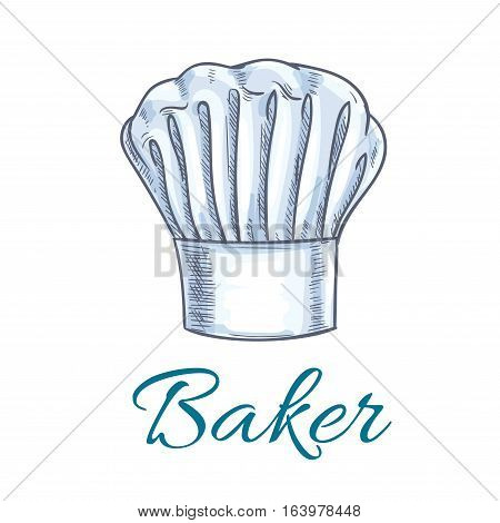 Chef hat or baker cap sketch. White toque of a kitchen staff of french or italian cuisine restaurant. Menu symbol, bakery shop signboard design