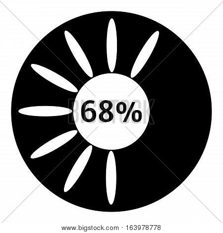 Sixty eight percent download icon. Simple illustration of sixty eight percent download vector icon for web