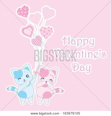 cat, valentine, cute, card, vector, day, heart, illustration, love, background, design, animal, pet, hug, art, white, sweet, greeting, couple, happy, kitten, romantic, kitty, decoration, decorative, drawing, cartoon, character, beautiful, your, female, st