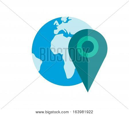 Globe earth icon planet map symbol vector illustration. Education toy and graphic sphere. Geography element tool continent application isolated on white background.